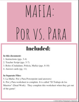 Por Vs. Para Mafia Game