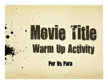 Por Vs Para Movie Titles