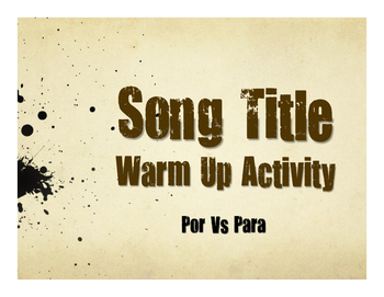 Por Vs Para Song Titles