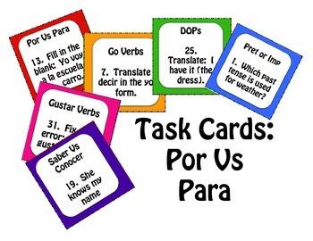 Por Vs Para Task Cards
