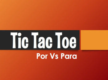 Por Vs Para Tic Tac Toe Partner Game