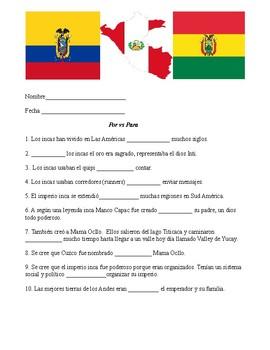 Por vs Para (connections to Incas)