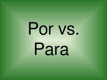 Por y Para Board Race Powerpoint or Wipe Board Practice Activity Game