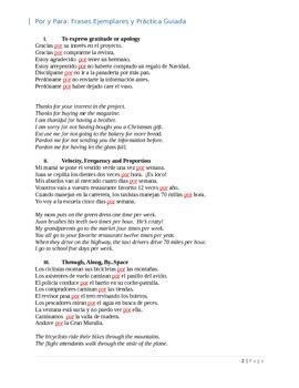 Por y Para:  Frases Ejemplares y Práctica Guiada