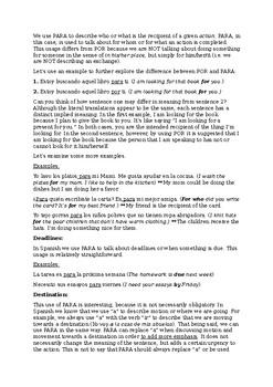 Introduction to Por y Para - Detailed Explanation