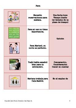 Por y Para Practice Booklet