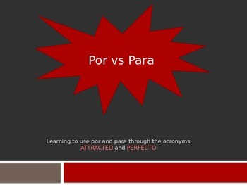 Por y Para Through Acronyms Powerpoint