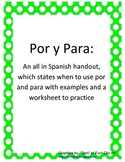 Por y Para: all in Spanish handout and worksheet
