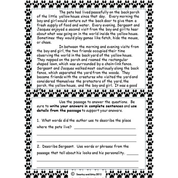 Porch Pals Story 1 Reading Passage and Constructed Response Practice Packet