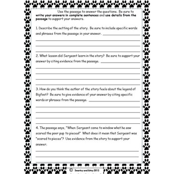 Porch Pals Story 2 Reading Passage and Constructed Response Practice Packet