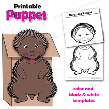 porcupine craft activity paper bag puppet template by dancing