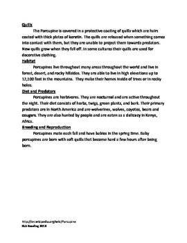Porcupine - Informational Article Review Questions Vocabulary Facts