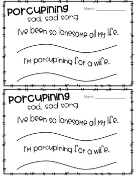 Porcupining: A Prickly Love Story Read Aloud Activities