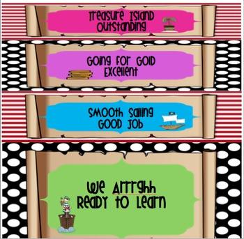 Portable Behavior Clip Chart- Pirate Stripes Polka dot