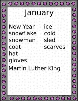 Monthly Portable Word Walls