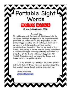 Portable Sight Words: Individual Word Wall FREEBIE