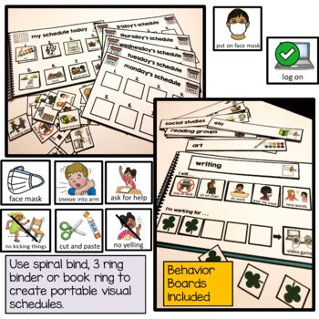Portable Visual Schedule Booklet and Behavior Management Tool. Autism