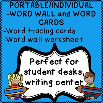 WORD WALL Portable individual WORD CARDS Word tracing card
