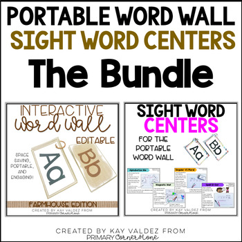 Portable Word Wall (Farmhouse) and Sight Word Centers Bundle