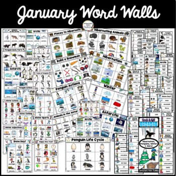 January Word Wall: Penguins, Hibernation, Monthly Word Walls