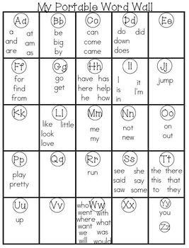 Portable Word Wall (Kindergarten/First Grade)