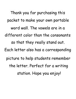 Portable Word Wall Letters