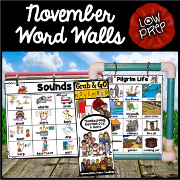 November Word Walls: Fall Word Walls, Thanksgiving, Veteran's Day, Nocturnal