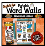 November Word Walls: Fall Word Walls, Thanksgiving, Vetera