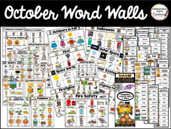 October Word Wall: Fall Thematic Word Lists Bats, Pumpkins, Fall