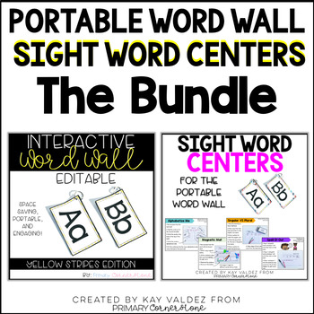 Portable Word Wall (Yellow) and Sight Word Centers Bundle