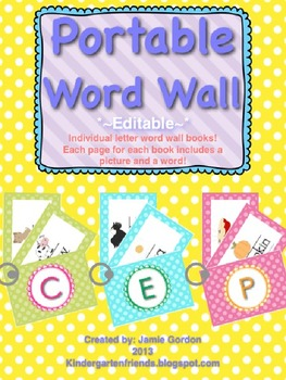 Portable Primary Word Wall  ~*EDITABLE*~