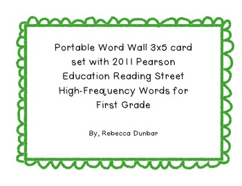 Portable Word Wall with Reading Street High-Frequency Words for First Grade