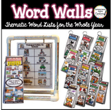 Word Wall Bundle: Monthly Word Walls Whole Year, Thematic