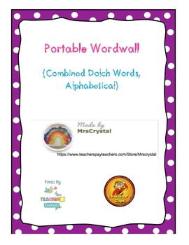 Portable Wordwall: Combined Dolch Words, Alphabetical