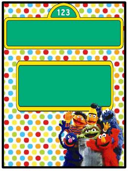 Portadas para carpetas profesionales editable Sesame  Street