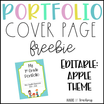 freebie portfolio cover page editable by magic of teaching tpt