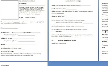 Portfolio Fillable Form for French Students