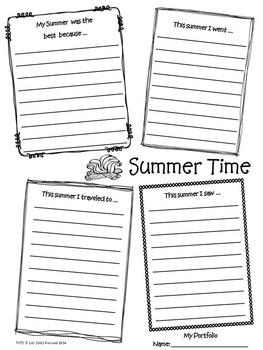 3rd Grade Portfolio Journal Memories