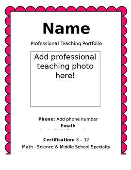 Teacher portfolio template teaching resources teachers pay teachers portfolio template portfolio template maxwellsz
