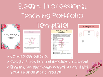 Professional teaching portfolio template editable for Teaching portfolio template free