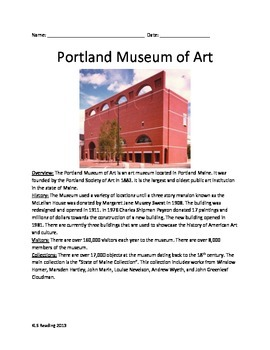 Portland Museum of Art - History Facts Information Questions Vocab Lesson