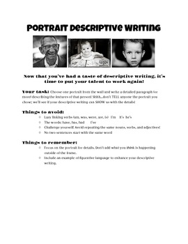 Portrait Paragraph: Descriptive Writing Lesson & Rubric