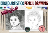 Portrait artistic drawing bilingual Dibujo artístico retrato lápiz pencil shadow
