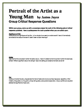 Portrait of the Artist as a Young Man - Joyce - Group Critical Response