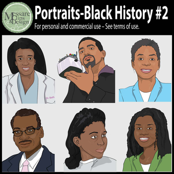 Portraits Black History Month Clip Art #2 {Messare Clips and Design}
