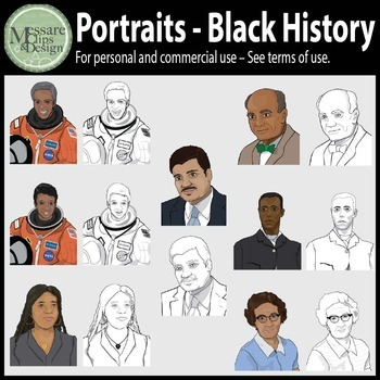 Portraits Black History Month Clip Art Set #1 {Messare Clips and Design}