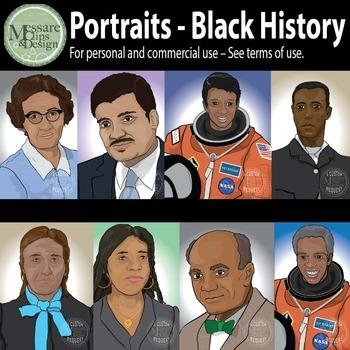 Portraits Black History Month Clip Art Set #1 {Messare Cli
