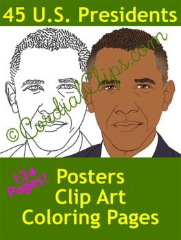 President Bundle Clip Art of All 44 US Presidents