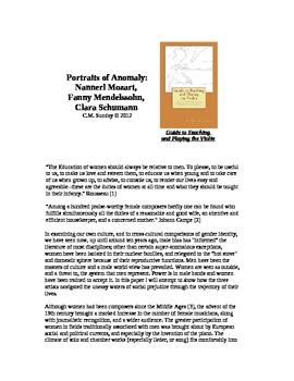 Portraits of Anomaly:Nannerl Mozart, Fanny Mendelssohn, Clara Schumann