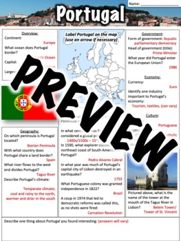 Portugal Worksheet
